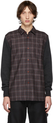 Junya Watanabe Grey Wool Panelled Flannel Shirt