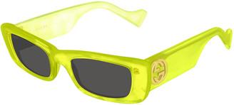 Gucci Monochromatic Rectangle Sunglasses w/ Interlocking G Temples