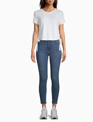 Calvin Klein Solid Crewneck Ruched Sides Cropped T-Shirt