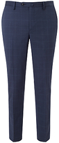 Hackett London Super 110s Wool Windowpane Check Chelsea Regular Fit Suit Trousers, Cornflower