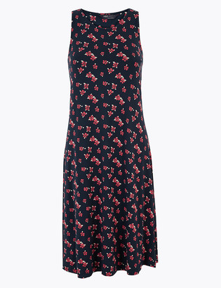 Marks and Spencer Jersey Floral Knee Length Swing Dress