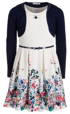 Beautees Big Girls 2-Pc. Shrug & Belted Skater Dress Set