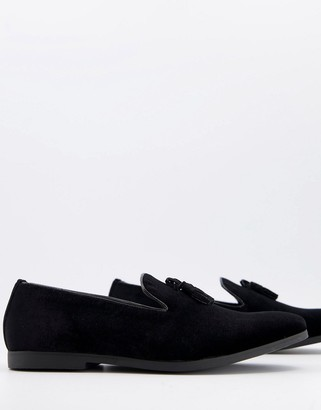 Truffle Collection tassel slipper shoes in black velvet