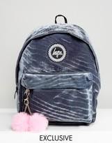 Hype Exclusive Grey Velvet Backpack With Pink Pom