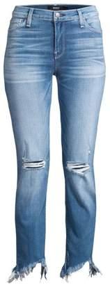 Hudson Jeans Nico Mid-Rise Cigarette Distressed Hem Jeans