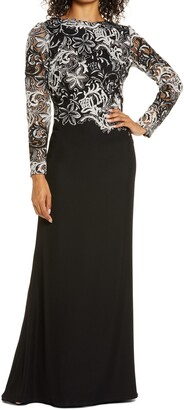 Tadashi Shoji Embroidered Long Sleeve Crepe Trumpet Gown
