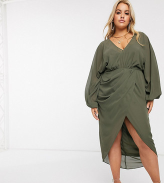 Asos DESIGN Curve plunge front blouson sleeve midi dress