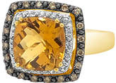 LeVian Corp Le Vian Grand Sample Sale Ring featuring Cinnamon Citrine White Sapphire Chocolate Diamonds set in 14K Honey Gold Family