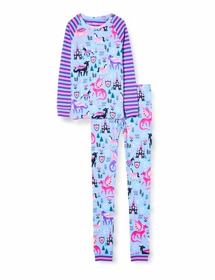 Hatley Girl's Organic Cotton Raglan Long Sleeve Printed Pyjama Set Pajama