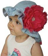 Mud Pie Baby-girls Newborn Lily Pad Seersucker Flower Hat
