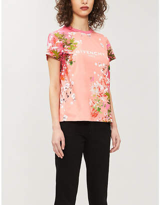 Givenchy Floral and logo-print cotton-jersey T-shirt