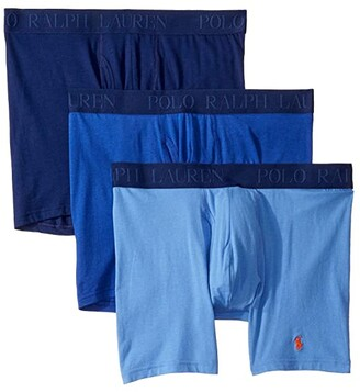 Polo Ralph Lauren 3-Pack 4D-Flex Cotton Modal Stretch Boxer Briefs (Bermuda Blue/Rugby Royal/Deep Atlantic) Men's Underwear