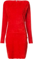 Jitrois slash-neck fitted dress - women - Suede - 40