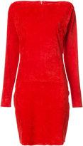 Jitrois slash-neck fitted dress - women - Suede - 42