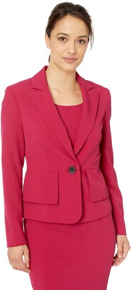 Kasper Women's Petite 1 Button Peak Lapel Crepe Jacket W Side Panels