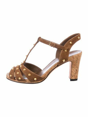 Gucci Suede Studded Accents T-Strap Sandals Brown