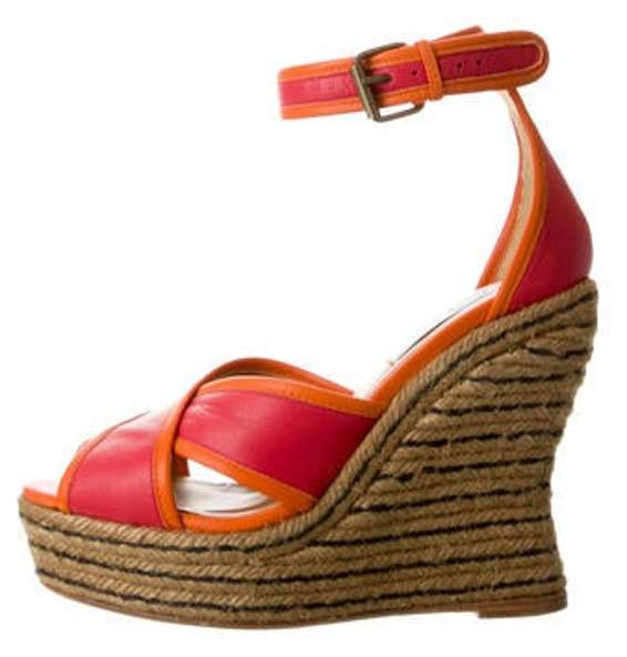 53e4a21cc48 Leather Wedge Espadrilles Pink Leather Wedge Espadrilles