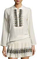 Figue Flamma Embroidered Silk Tunic, Ivory