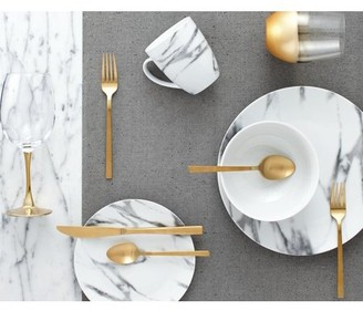 Safdie & Co. 16-Piece Coupe Dinnerware Set, White, Marble