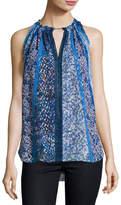 Elie Tahari Bessie Sleeveless Floral-Print Blouse, Blue