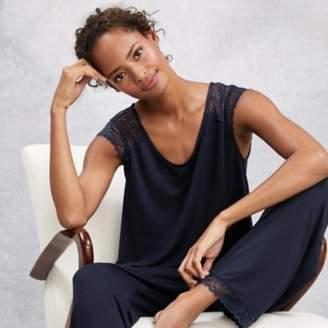 The White Company Lace Sleeve Pyjama Set, Navy, Extra Small