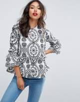 Asos Premium Embroidered Smock Top