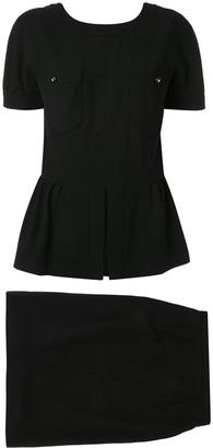 Chanel Pre-Owned long sleeve setup jacket skirt black