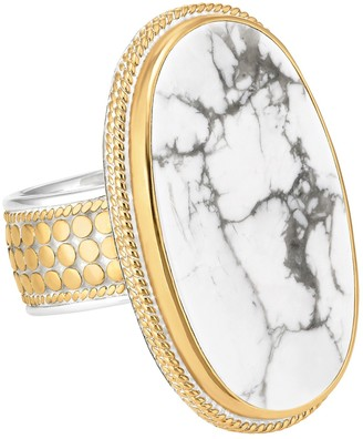 Anna Beck 18K Gold Plated Sterling Silver Howlite Ring - Size 5