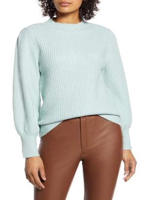 Halogen X Atlantic-Pacific Blouson Sleeve Sweater