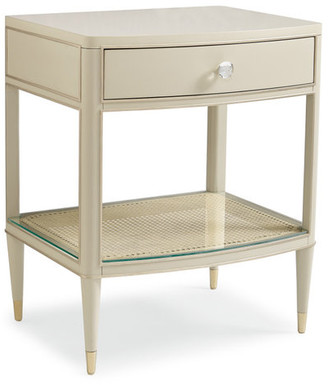 Caracole Can't Do Without You, Soft Taupe Nightstand With Caning Shelf