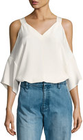 Tibi Silk Cold-Shoulder V-Neck Top, White