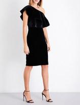 Armani Collezioni One-shoulder bead-embellished velvet dress