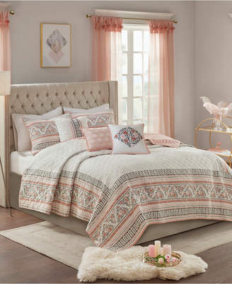 Madison Home USA Moria Full/Queen 6-Pc. Cotton Printed Clip Jacquard Reversible Coverlet Quilt Set Bedding