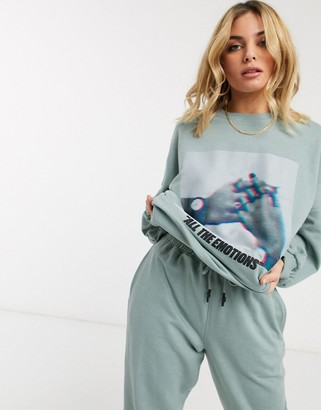 Public Desire oversized sweatshirt with emotions graphic co-ord