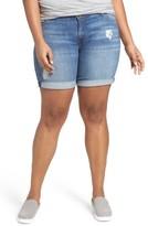 KUT from the Kloth Plus Size Women's Roll Cuff Stretch Denim Shorts