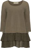 Isolde Roth Plus Size Cotton linen blend ruffle hem top