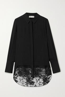 Alexander McQueen Lace-trimmed Silk-chiffon Shirt - Black