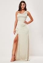 Missguided Bridesmaid Champagne Satin Cowl Neck Maxi Side Split Dress