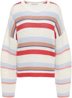 Joie Diza Striped Open-knit Cotton Sweater