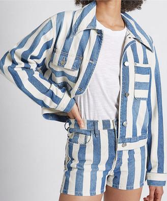 Current/Elliott Women's Denim Jackets THE - The Bay Blue Stripe The Sammy Denim Jacket - Women