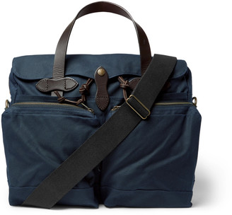 Filson 24-Hour Leather-Trimmed Coated-Canvas Briefcase - Men - Blue
