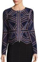 Herve Leger Knit Zip-Front Jacket