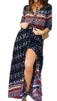 YACUN Women's 3/4 Sleeve V-Neck Floral Vintage Maxi Beach Dress M
