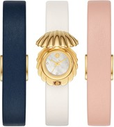 Tory Burch Shell Watch Gift Set, Gold Tone/Multi-Color, 25 X 28 Mm