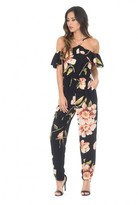 AX Paris Black Cold Shoulder Floral Jumpsuit