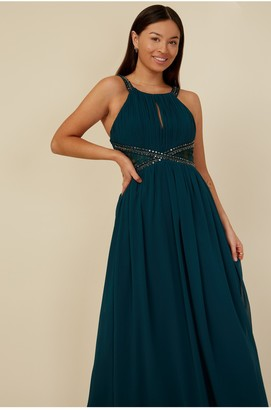 Little Mistress Bridesmaid Lauren Emerald Green Lace Insert Maxi Dress With Keyhole