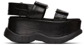 Sunnei Black Croc Platform Sandals