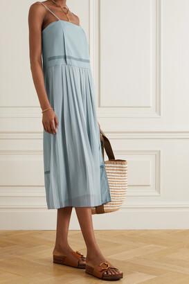 Chloe - Lace-trimmed Crepe And Pleated Chiffon Midi Dress - Blue