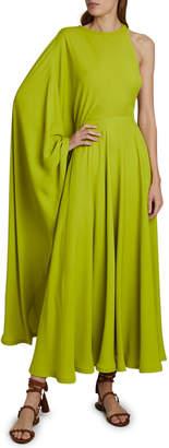 Valentino Cape One-Shoulder Midi Dress