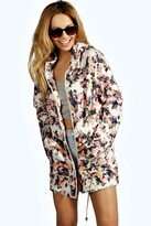 Thumbnail for your product : boohoo Floral Hooded Festival Mac
